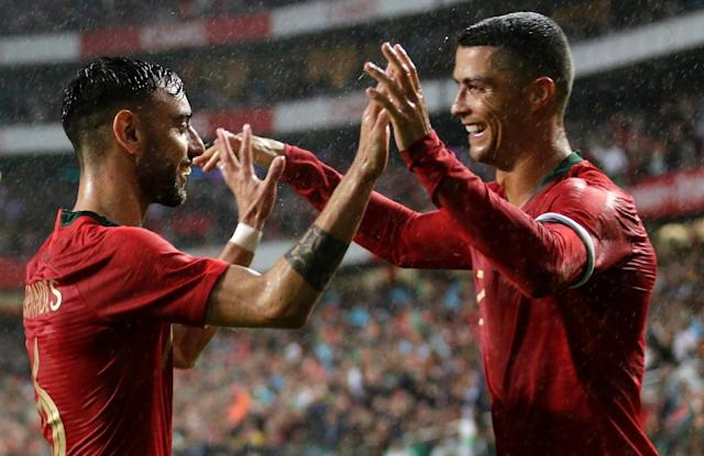 Cristiano Ronaldo inspired Portugal to a morale-boosting victory over Algeria on his return to international duty (AFP Photo/JOSE MANUEL RIBEIRO)