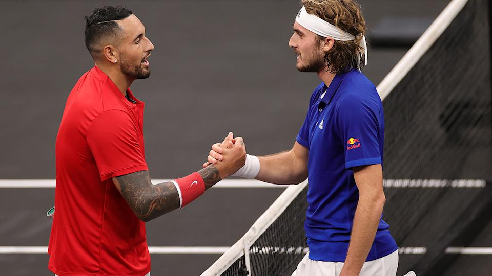 Nick Kyrgios, pictured here congratulating Stefanos Tsitsipas after their match at the Laver Cup.