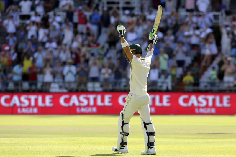 South Africa captain Faf du Plessis celebrates his 100 on day two of the second cricket test match between South Africa and Pakistan at Newlands Cricket Ground in Cape Town, South Africa, Friday, Jan. 4, 2019. (AP Photo/Halden Krog)