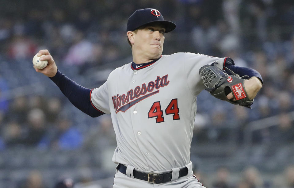 Minnesota Twins' Kyle Gibson throws during the first inning of the team's baseball game against the New York Yankees on Friday, May 3, 2019, in New York. (AP Photo/Frank Franklin II)