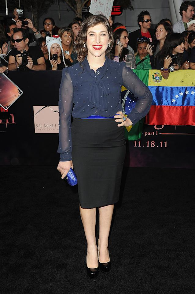 """<a href=""""http://movies.yahoo.com/movie/contributor/1800108725"""">Mayim Bialik</a> at the Los Angeles premiere of <a href=""""http://movies.yahoo.com/movie/1810158314/info"""">The Twilight Saga: Breaking Dawn - Part 1</a> on November 14, 2011."""