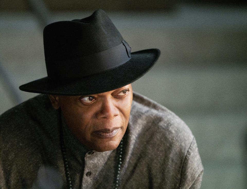 """This image released by Lionsgate shows Samuel L. Jackson in a scene from """"The Protégé."""" (Simon Varsano/Lionsgate via AP)"""