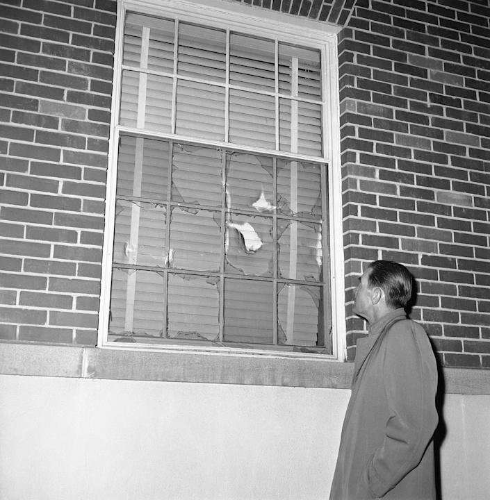 Rioting University of Georgia students broke all but two panes in this dormitory window on Jan. 12, 1961, in Athens during a riot that forced the withdrawal of African American students Charlayne Hunter and Hamilton Holmes. The two African Americans had been attending the university under federal orders.