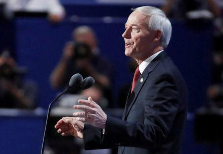 File Photo: Governor Asa Hutchinson (R-AR) speaks at the Republican National Convention in Cleveland, Ohio, U.S. July 19, 2016. REUTERS/Jim Young/File Photo