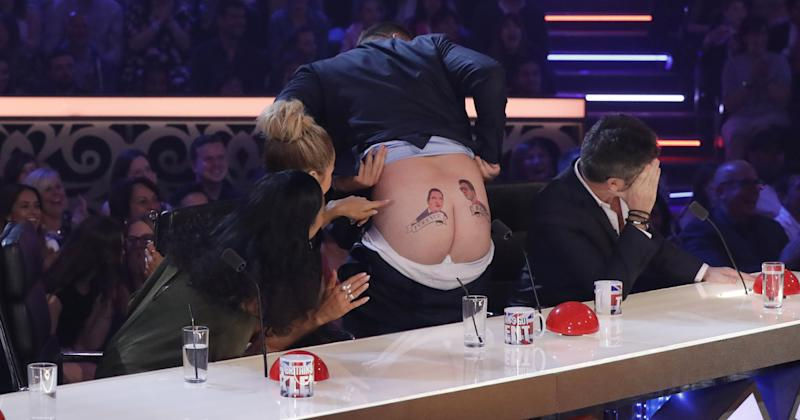 David dropped his trousers, but Simon refused to look at his peachy posterior (Photo: Syco / Thames / Dymond)