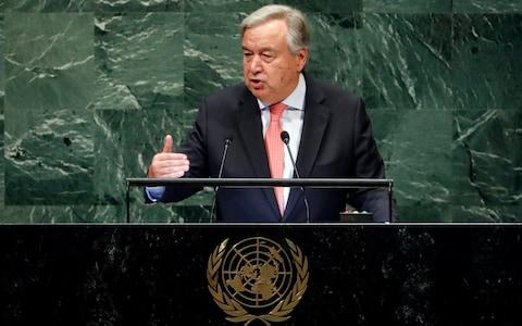 United Nations Secretary-General Antonio Guterres  - Credit: Richard Drew/AP