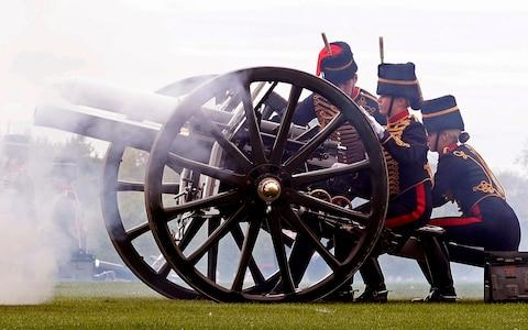 Gun salutes have also been used to mark other Royal events - Credit: ADRIAN DENNIS/AFP