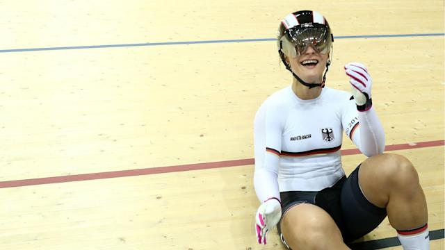 Kristina Vogel remains tied with Anna Mears on 11 world titles after a surprise mistake in the women's keirin in Apeldoorn.