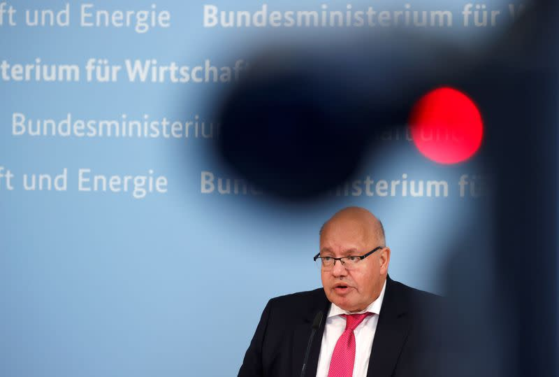 German Economy Minister Peter Altmaier attends a news conference in Berlin