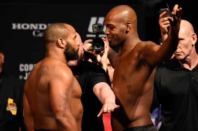 Daniel Cormier (L) and Jon Jones face off during the UFC 214 weigh-in inside the Honda Center on July 28, 2017 in Anaheim, California. (Getty Images)