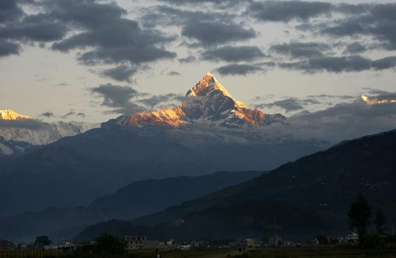 Mount Machhapuchhre, which stands at 6993 metres and forms part of the Annapurna region, is seen from Pokhara, some 200kms west of the Nepalese capital Kathmandu (AFP Photo/Prakash Mathema)