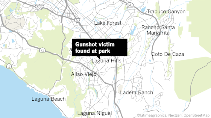 Map of Orange County area with a label pointing to where a gunshot victim was found in Laguna Hills