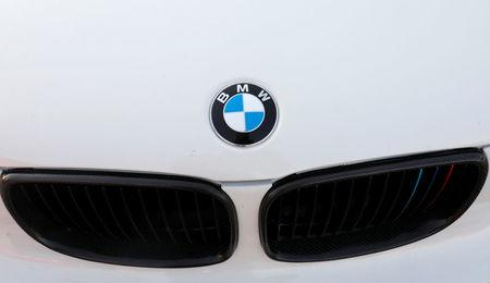 A BMW logo is seen on a car at the International Auto Show in Mexico City
