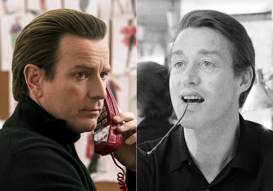 """This combination of photos shows actor Ewan McGregor portraying fashion designer Halston, left, and Halston photographed in his New York showroom on July 9, 1975. A new series about the fashion designer, """"Halston,"""" premieres Friday on Netflix. (Netflix via AP, left, and AP Photo)"""