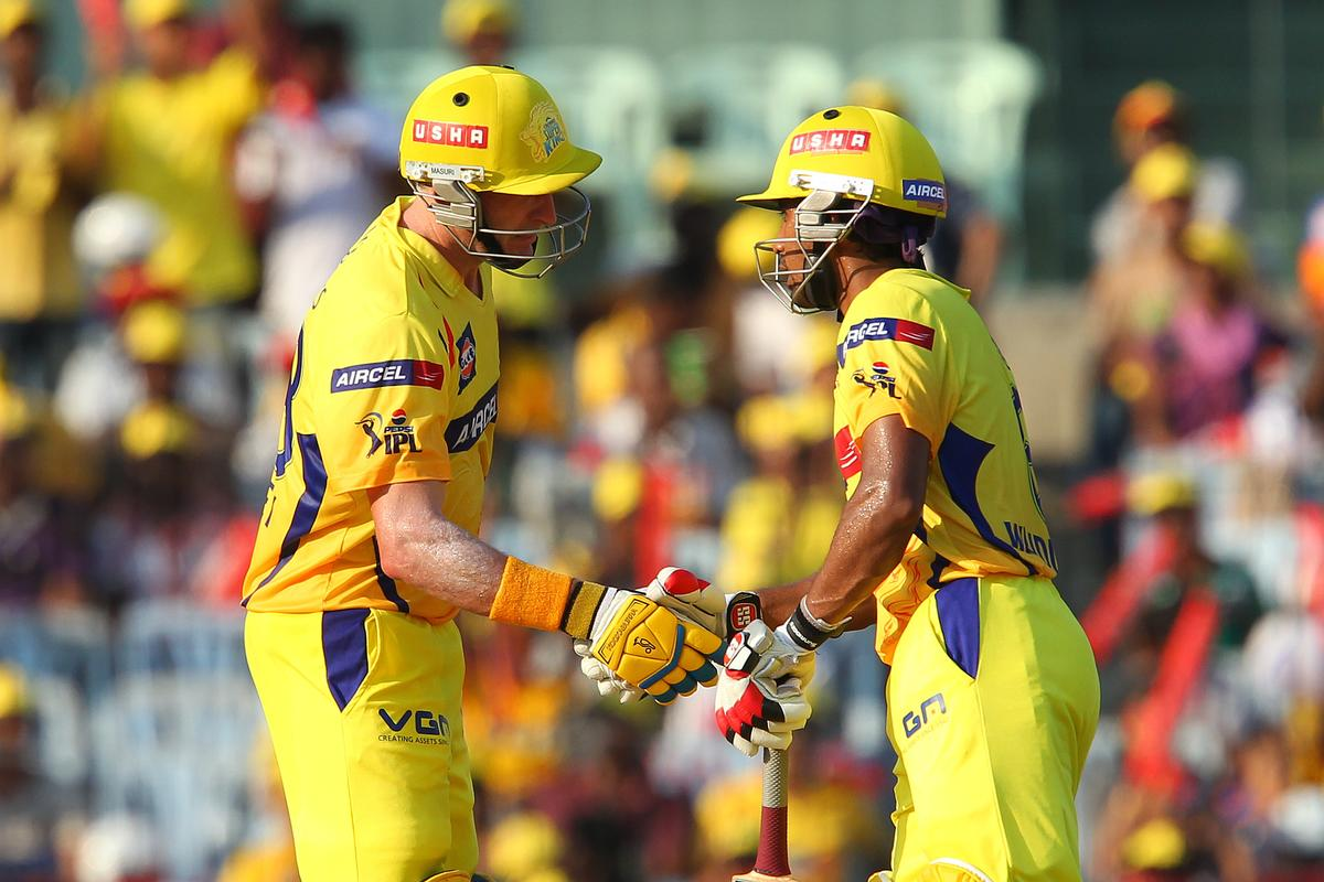 Michael Hussey and Wriddhiman Saha celebrate their century partnership  during match 38 of the Pepsi Indian Premier League between The Chennai Superkings and the Kolkata Knight Riders held at the MA Chidambaram Stadiumin Chennai on the 28th April 2013.. (BCCI)