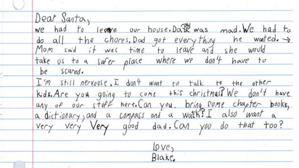 PHOTO: Blake's note to St. Nick was shared on Facebook Wednesday by SafeHaven of Tarrant County in Fort Worth, Texas, and garnered hundreds of comments and shares. (SafeHaven of Tarrant County)
