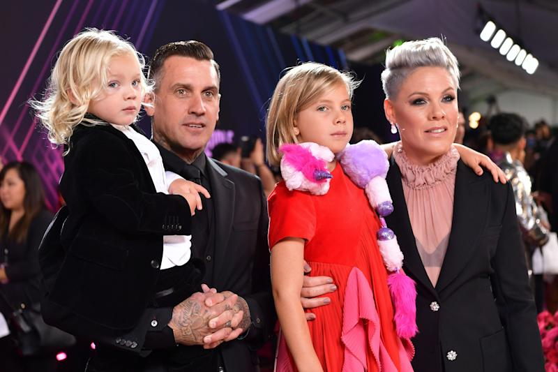 SANTA MONICA, CALIFORNIA - NOVEMBER 10: 2019 E! PEOPLE'S CHOICE AWARDS -- Pictured: (l-r) Carey Hart, Pink, Jameson Hart, and Willow Hart arrive to the 2019 E! People's Choice Awards held at the Barker Hangar on November 10, 2019. -- NUP_188994 (Photo by Emma McIntyre/E! Entertainment/NBCU Photo Bank via Getty Images)