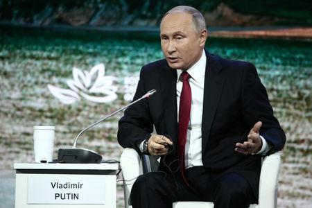 FILE PHOTO: Russian President Vladimir Putin speaks during a session of the Eastern Economic Forum in Vladivostok, Russia September 12, 2018. Valery Sharifulin/TASS Host Photo Agency/Pool via REUTERS