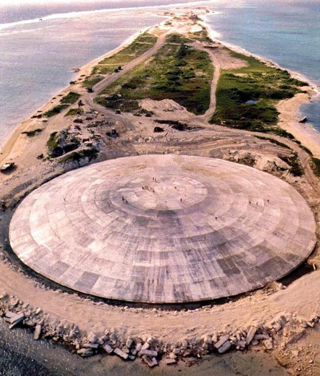 US military engineers dumped nuclear waste in a bomb crater in Enewetak atoll, capped it with a 45-centimetre (18-inch) thick concrete dome and again gave residents the all-clear to return