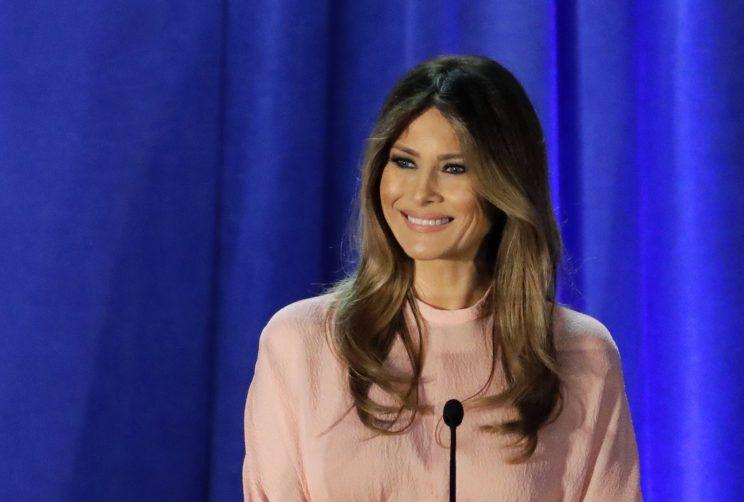 Melania Trump, wife of Republican presidential candidate Donald Trump, delivers a speech at the Main Line Sports Center in Berwyn, Pa., Thursday, Nov. 3, 2016. (Photo: Patrick Semansky/AP)