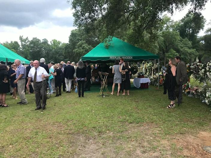 Mourners gather Sunday, June 13, 2021 for the funeral of Randolph Murdaugh III, family patriarch and former state prosecutor for the 14th judicial circuit.