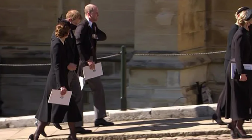Prince Harry, Prince William and Kate Middleton were spotted together after Prince Philip's funeral. Photo: BBC