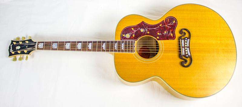 Yusuf Islam (Cat Stevens) played this Gibson J-200 at his induction into the Rock and Roll Hall of Fame on April 10, 2014 at the Barclays Center in Brooklyn, New York. The 2014 Rock and Roll Hall of Fame Inductee exhibit opens May 31, 2014 in Cleveland, Ohio.