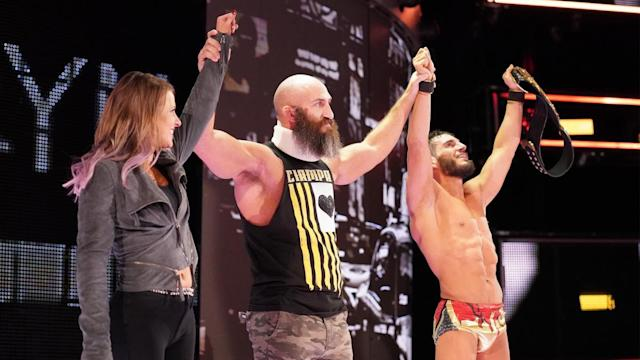 Tommaso Ciampa celebrates with Johnny Gargano and Candice LeRae during NXT TakeOver: New York. (Photo courtesy of WWE)