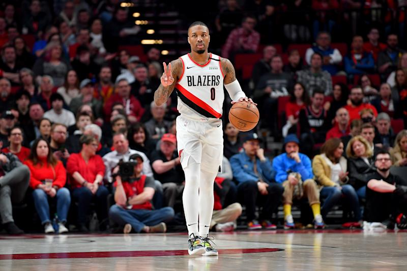 Damian Lillard has a chance to set the tone in the race for the final West playoff seed on Friday. (Alika Jenner/Getty Images)