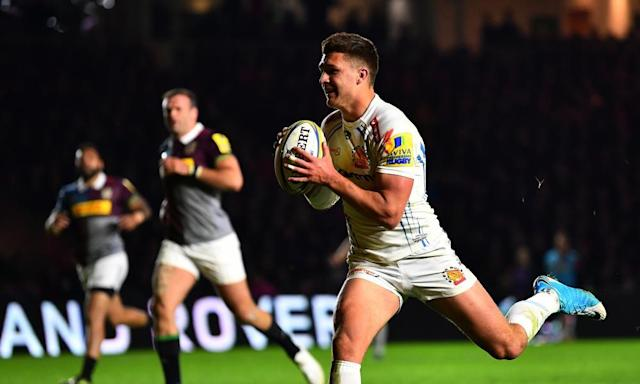 """<span class=""""element-image__caption"""">Henry Slade of Exeter Chiefs gathers the ball and crosses the line to score his side's fourth try during the Aviva Premiership match against Harlequins. </span> <span class=""""element-image__credit"""">Photograph: Dan Mullan/Getty Images</span>"""
