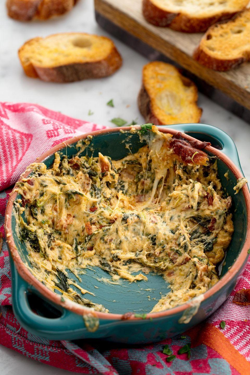 "<p>All the cheesy, bacon-y goodness a holiday deserves.</p><p>Get the recipe from <a href=""https://www.delish.com/cooking/recipe-ideas/recipes/a50161/bacon-spinach-dip-recipe/"" rel=""nofollow noopener"" target=""_blank"" data-ylk=""slk:Delish"" class=""link rapid-noclick-resp"">Delish</a>.</p>"