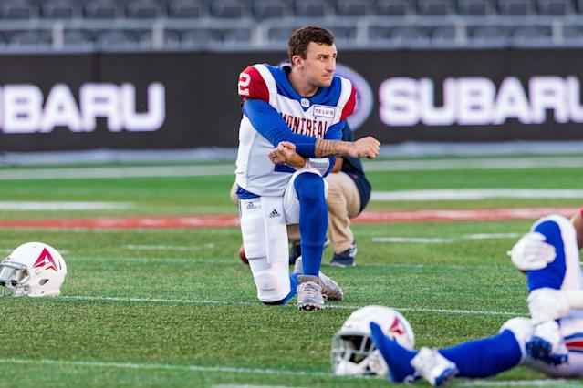 The Montreal Alouettes announced they cut quarterback Johnny Manziel on Wednesday. (Photo by Richard A. Whittaker/Icon Sportswire via Getty Images)