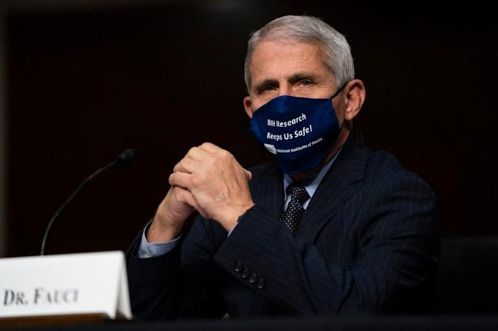 Dr. Anthony Fauci, director of the National Institute of Allergy and Infectious Diseases, testifies at a hearing of the Senate Health, Education, Labor and Pensions Committee on September 23, 2020 in Washington, DC. The committee is examining the federal response to the coronavirus pandemic. (Photo by Alex Edelman-Pool/Getty Images)