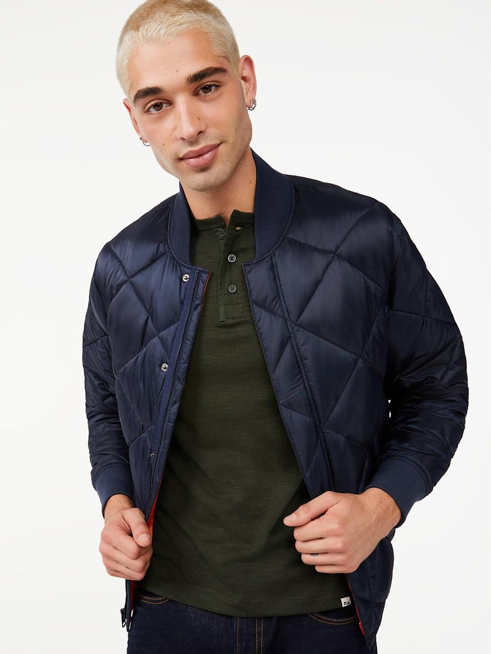 <p>This <span>Free Assembly Men's Quilted Bomber Jacket</span> ($38) is both timeless and on-trend.</p>