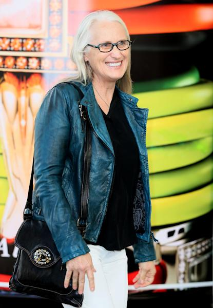 Jury President and director Jane Campion, from New Zealand, arrives at a hotel ahead of the 67th international film festival, Cannes, southern France, Tuesday, May 13, 2014. The festival runs from May 14th to May 25th. (AP Photo/Alastair Grant)