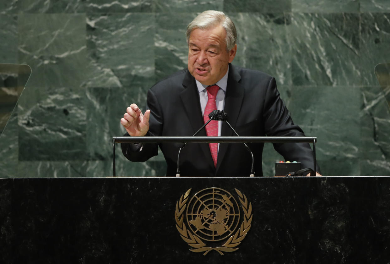 United Nations Secretary-General Antonio Guterres addresses the 76th Session of the U.N. General Assembly at UN Headquarters on September 21, 2021 in New York City. (Photo by Eduardo Munoz-Pool/Getty Images)