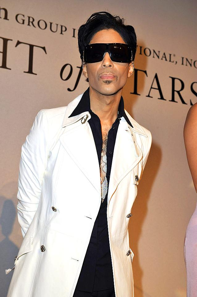 "When will Prince realize that sporting sunglasses inside is a fashion faux pas? SGP Italia srl/<a href=""http://www.wireimage.com"" target=""new"">WireImage.com</a> - October 23, 2008"