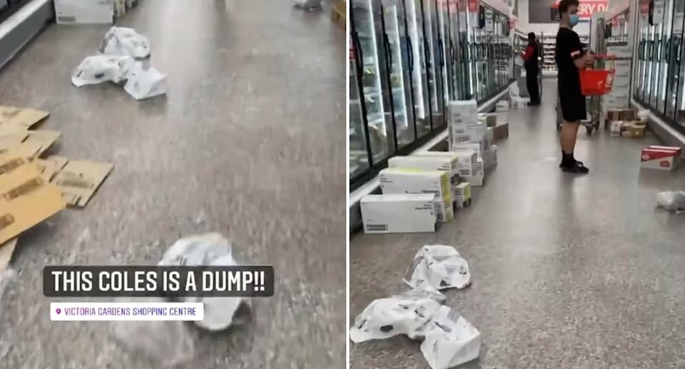 A Coles customer has posted a video slamming a Coles store in Victoria. Source: Facebook