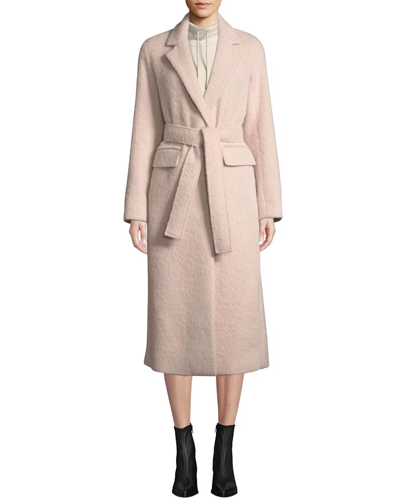 Vince Belted Single-Button Wool-Blend Long Coat. (Credit: Neiman Marcus)