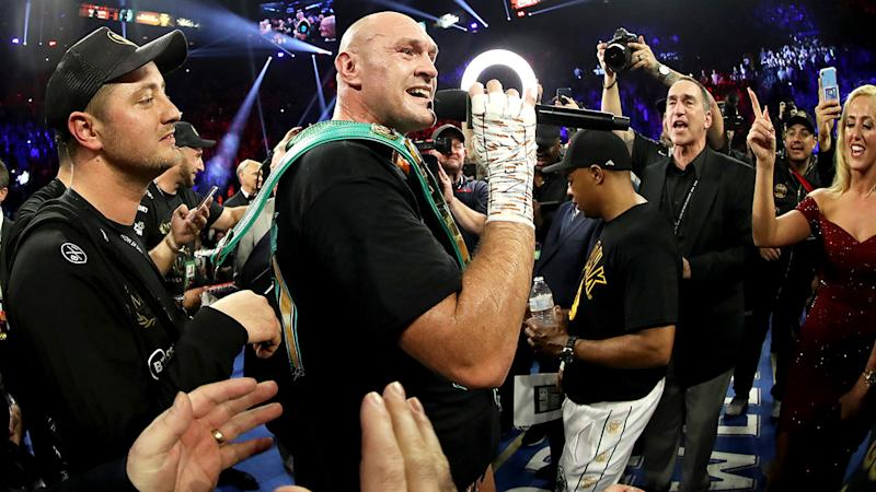 Seen here, Tyson Fury speaks after his impressive 7th round TKO win over Deontay Wilder.