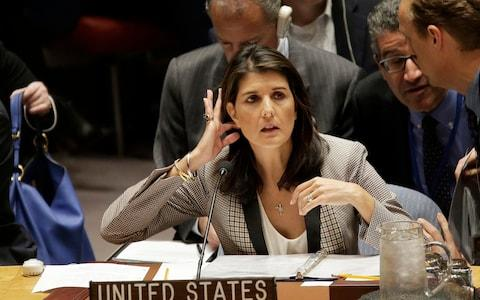 Nikki Haley told an emergency Security Council meeting that the US condemned Russia's actions - Credit:  Seth Wenig/AP