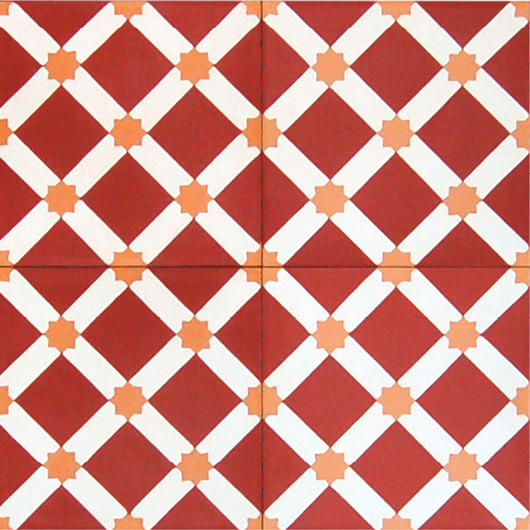 "Veranda Cluny 8"" sq. tile in red and orange; $24 per sq. ft. <em><a rel=""nofollow"" href=""http://walkerzanger.com/"">walkerzanger.com</a></em>"