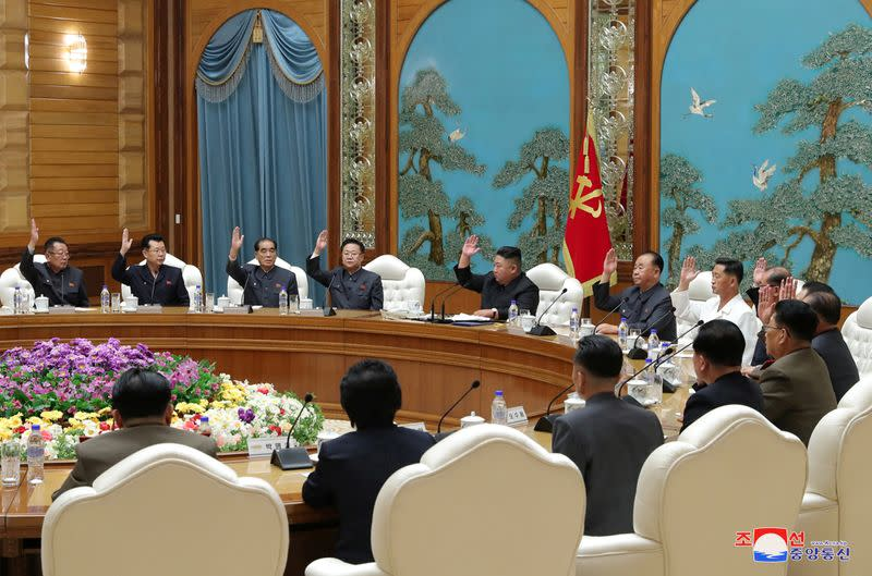 North Korean leader Kim Jong Un attends the 19th Meeting of the Political Bureau of the 7th Central Committee of WPK