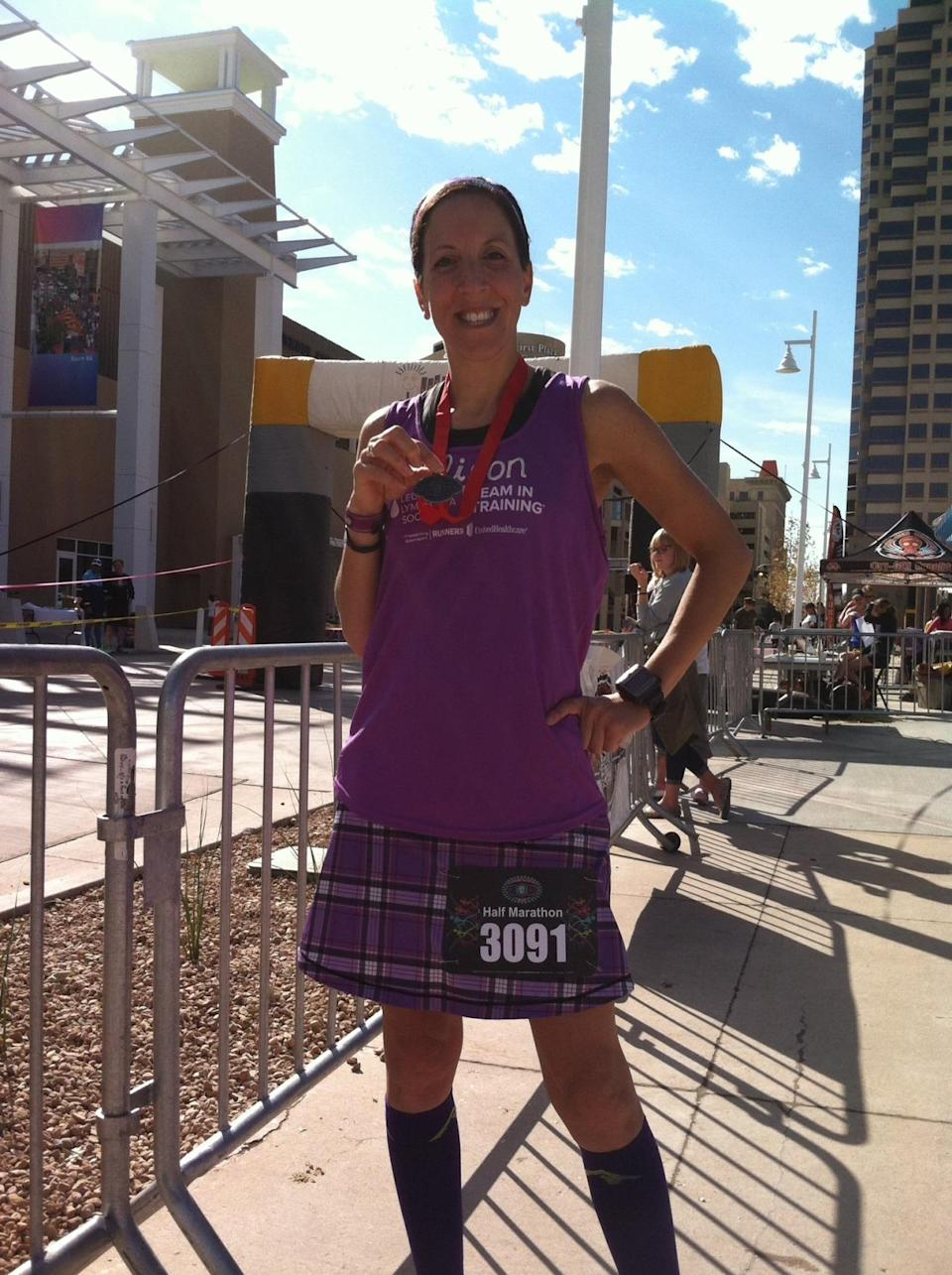 """<p>In 2006, I got a pamphlet in the mail that read, """"Do A Marathon; Cure Cancer."""" Sounded pretty good to me, especially because my friend was battling cancer. So I, a novice athlete at best, joined the Leukemia and Lymphoma Society's <a href=""""http://www.teamintraining.org/"""" rel=""""nofollow noopener"""" target=""""_blank"""" data-ylk=""""slk:Team in Training"""" class=""""link rapid-noclick-resp"""">Team in Training</a>. I thought it would be my only marathon ever, but I've now finished 19!</p><p><i>—Alison O'Brien, 43, Union, New Jersey . Finisher of 18 full marathons and 50 half marathons; raised $14,000 to date for the <a href=""""http://www.teamintraining.org/"""" rel=""""nofollow noopener"""" target=""""_blank"""" data-ylk=""""slk:Leukemia and Lymphoma Society"""" class=""""link rapid-noclick-resp"""">Leukemia and Lymphoma Society</a>.</i></p>"""