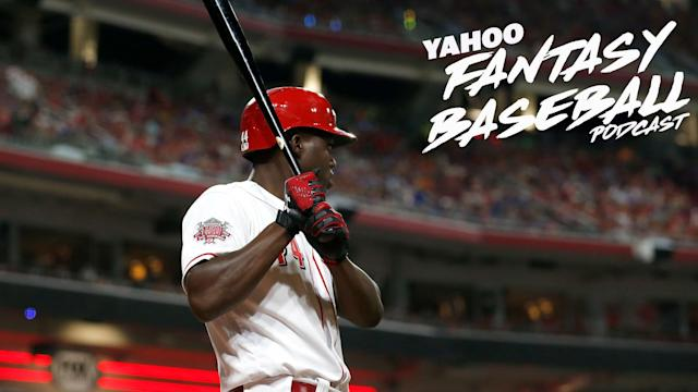 Dalton Del Don and Derek Carty discuss the monster weekend from Aristides Aquino on the latest Yahoo Fantasy Baseball Podcast. (Photo by Kirk Irwin/Getty Images)