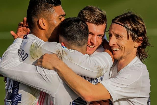 Real Madrid celebrate their second goal