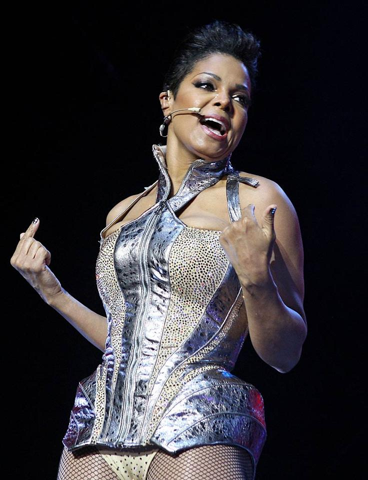"""Another pop diva who recently embarrassed herself on stage was Janet Jackson, whose painfully outdated concert wear and shortened 'do aged her tremendously. Bennett Raglin/<a href=""""http://www.wireimage.com"""" target=""""new"""">WireImage.com</a> - July 2, 2010"""