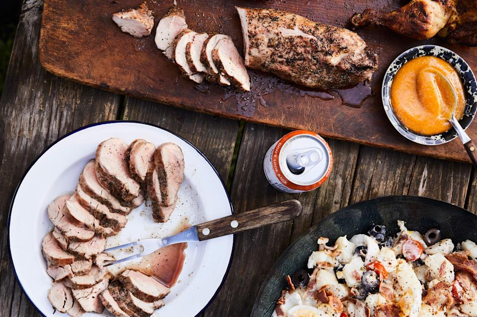 """The key with tenderloin is making sure it's not overcooked, which is when it gets dry. The riper the peaches, the more delicious and nuanced the sauce will be. <a href=""""https://www.epicurious.com/recipes/food/views/grilled-pork-tenderloin-with-peach-mustard-sauce?mbid=synd_yahoo_rss"""" rel=""""nofollow noopener"""" target=""""_blank"""" data-ylk=""""slk:See recipe."""" class=""""link rapid-noclick-resp"""">See recipe.</a>"""