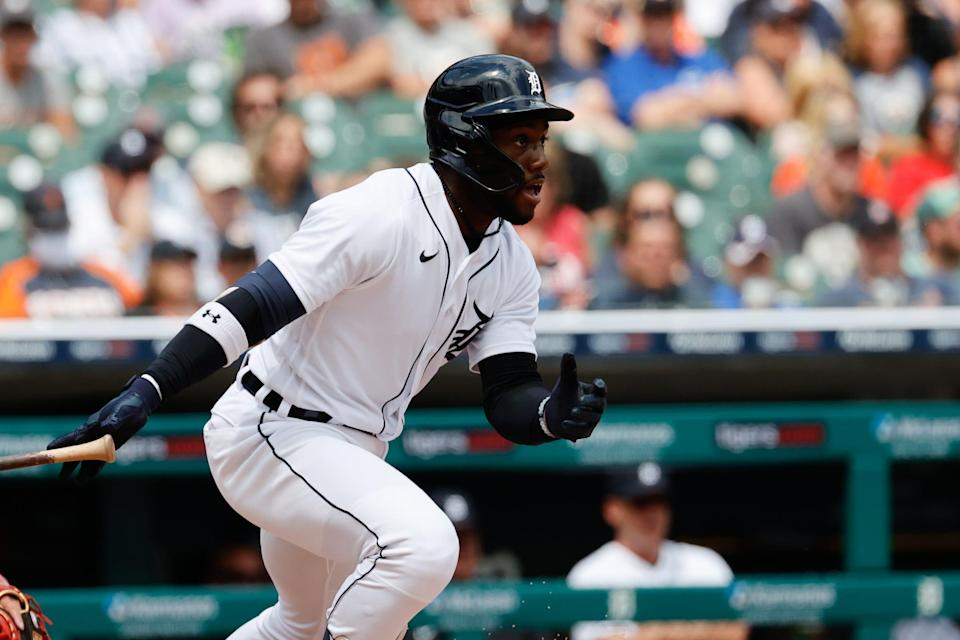 Detroit Tigers center fielder Akil Baddoo (60) hits an RBI single in the sixth inning against the St. Louis Cardinals at Comerica Park, June 23, 2021.