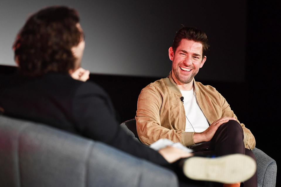 <p>John Krasinski chats with Edgar Wright at the London Screening and Q&A for <i>A Quiet Place Part II </i>on June 6. </p>